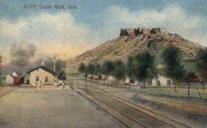 Castle Rock, CO, Colorado, USA Railroad Train Depot Postcard Post Card Castle...