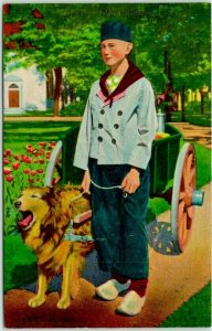 1940s Holland, Michigan Postcard TULIP TIME Boy w/ Dog & Cart -Curteich Chrome