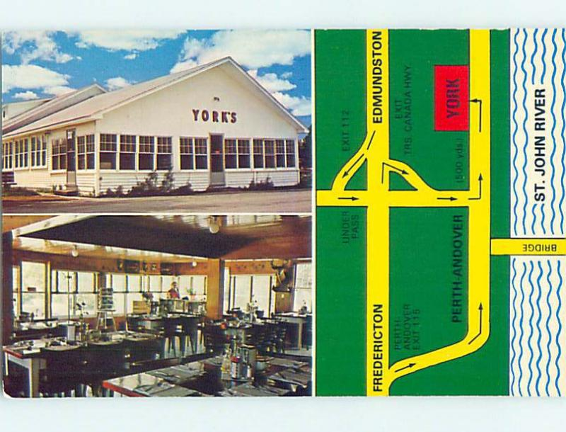 Unused Pre-1980 YORK DINING ROOM RESTAURANT Andover NB hs4269