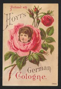 VICTORIAN TRADE CARD Hoyts German Cologne Ladies Face in Rose