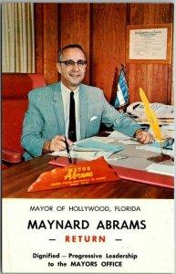 1950s Hollywood, Florida Postcard MAYOR MAYNARD ABRAMS Political Campaign Card