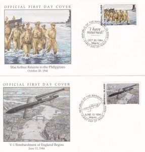 VI Bombardment Of England Begins Phipippines 2x WW2 First Day Cover s