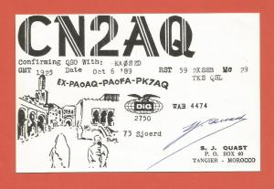 QSL AMATEUR RADIO CARD – TANGIER, MOROCCO – 1989