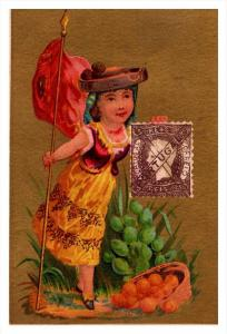Portugal   Stamp, Flag, Girl   Victorian Philatelic Trade Card