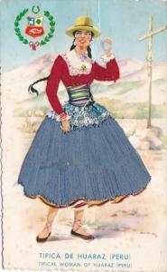 Peru Tipica De Huaraz Beautiful Woman Wearing Embroidered Dress 1969