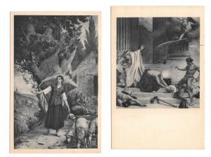 France Paris Pantheon Martyrdom St Denis Vision Sainte Joan  2 Vintage Postcards
