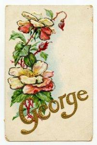Postcard Name George Embossed Glitter Standard View Card