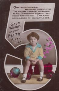 Boy Sits On Pink Train Football Antique Happy 5th Birthday Greetings Postcard