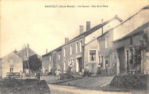 Marcilly France (Haute-Marne) - La Centre - Rue de la Gare Postcard