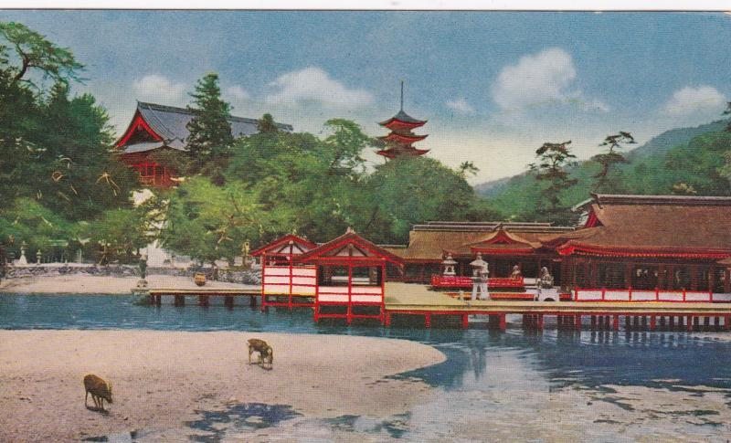 MIYAJIMA, Aki, Hiroshima, Japan, 1900-10s; Japanese Building on the lake