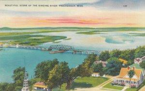 PASCAGOULA , Mississippi, 1930-40s; Beautiful Scene of the Singing River, Bridge