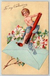 Valentine~Gossamer Cupid w/ Wax Stick Seals Envelope~Red Tipped Star Flowers~Emb