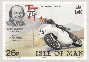 Mike Hailwood 1961 Senior Race Isle Of Man TT Races Stamp Rare Postcard