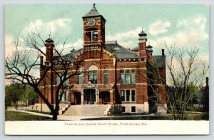 Fond du Lac Wisconsin~County Courthouse Close Up~Clock Tower~c1910 Postcard
