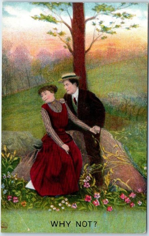 1910s Bamforth Romance Postcard WHY NOT? Couple on Rock Under Tree UNUSED
