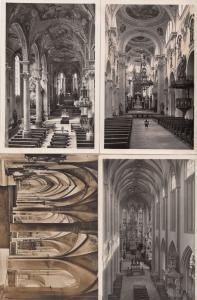 Augsburg 4x German Religious Kirche Inneres Postcard s