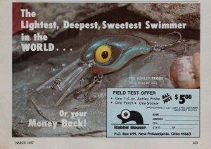1987 Rabble Reuser Old Fishing Lure Print Ad