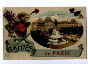 192423 FRANCE Amities de PARIS pansy Vintage collage postcard