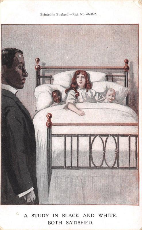 Satisfied Interracial Marriage~Wife in Bed w/Black/White Babies~Americana~c1910
