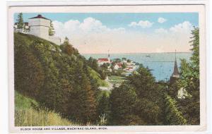 Block House Village Mackinac Island Michigan 1920s postcard