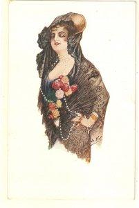 Luis del Val. spanish Lady. Tipo Español Nice spanish postcarrd 1920s