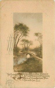 Stone Bridge Road Twists Part Meadow Dille pm 1910 Postcard