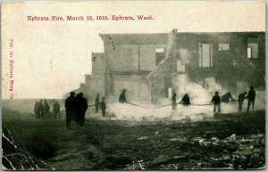 Ephrata, Washington Postcard EPHRATA FIRE, March 13, 1910 Firefighting Scene
