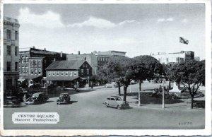 Hanover Pennsylvania Postcard 1940s Town Square Cars Civil War Monument NC