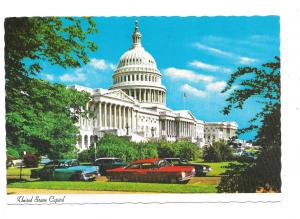 United States Capitol Building View w Cars Washington DC Vtg Postcard 4X6