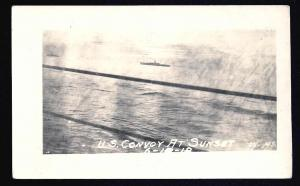 US Naval Convoy at Sunset Real Photo PC Unused c1918