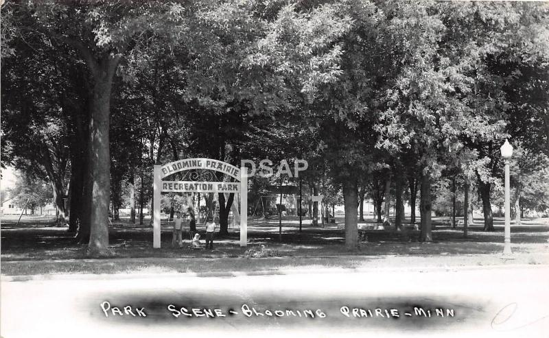 C95/ Blooming Prairie Minnesota Mn Real Photo RPPC Postcard c40s Park Scene Sign
