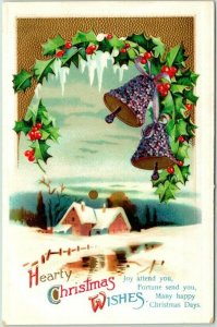 Vintage HEARTY CHRISTMAS WISHES Greetings Postcard Flower Bells / House c1910s