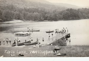 RP: WALLINGFORD , Vermont , 1930-40s; Elfin Lake, Canoes, Dock