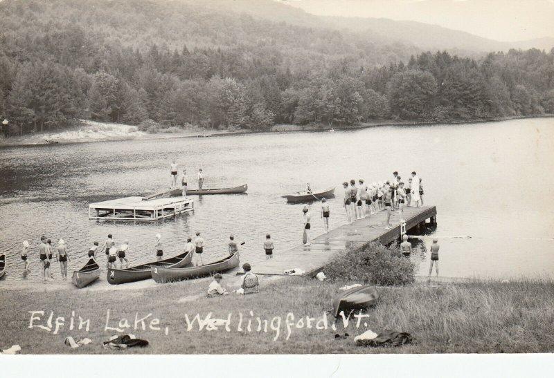 RP: WALLINGFORD , Vermont , 1930-40s; Elfin Lake, Canoes, Dock