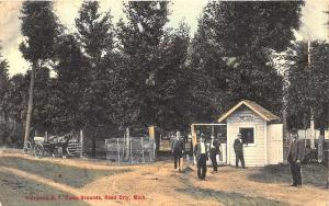 Reed City MI Entrance to M. E. Camp Grounds Horse & Wagon Postcard