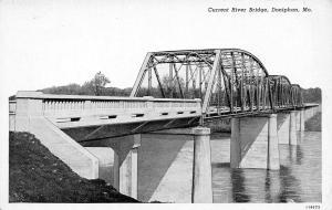 Doniphan Missouri~Triple Span Steel Girder Current River Bridge~1930s B&W PC