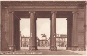 Amalienborg Slot Kolonnaden Kobenhavn Horse Statue Denmark Postcard