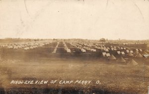 G4/ Camp Perry Ohio RPPC Postcard c1910 Birdseye View Tents Military