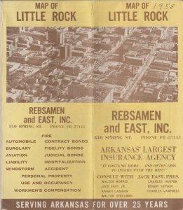 1958 Little Rock Arkansas Map by Rebsamen and East, Inc. Insurance Agency