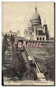 Old Postcard Paris Montmartre Funicular Sacred Heart