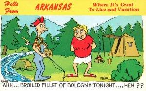 Hello from Arkansas, AR, Comic, Man Fishing, Chrome Vintage Postcard h4731