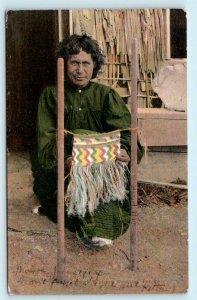 NEW ZEALAND ~ MAORI WAHINE Weaving Taniko 1907  Postcard