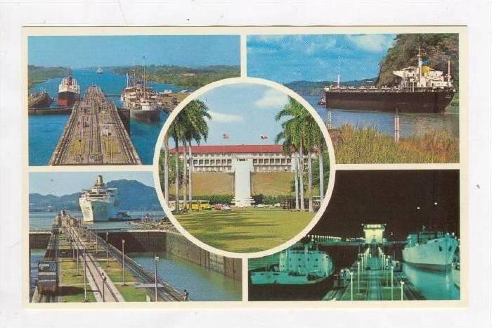 5-views, Gatun & Miraflores Locks, Panama Canal, 50-60s