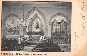 Germantown Ohio Lutheran Church Interior Antique Postcard (J34271)