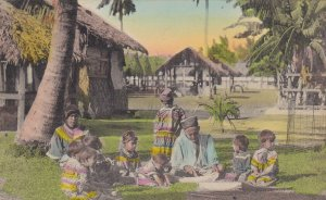 FLORIDA, PU-1935; Seminole Indian Woman Teaching Children