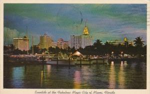 Florida Miami Skyline At Night 1963
