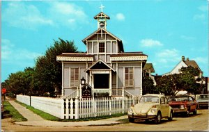 Cape May Point NJ Gingerbread Church Postcard used 1979 VW Bug Beetle