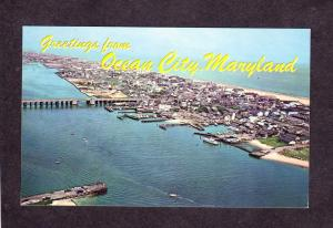 MD Greetings from Ocean City Maryland Postcard Aerial View Sinepuxent Bay