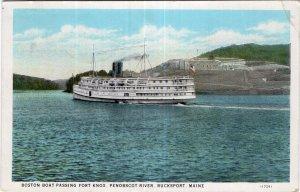 Bucksport, Maine, Boston Boat Passing Fort Knox, Penobscot River