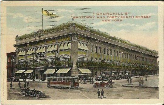 Churchill's Broadway and Forty-Ninth Street 49th Street New York Antique